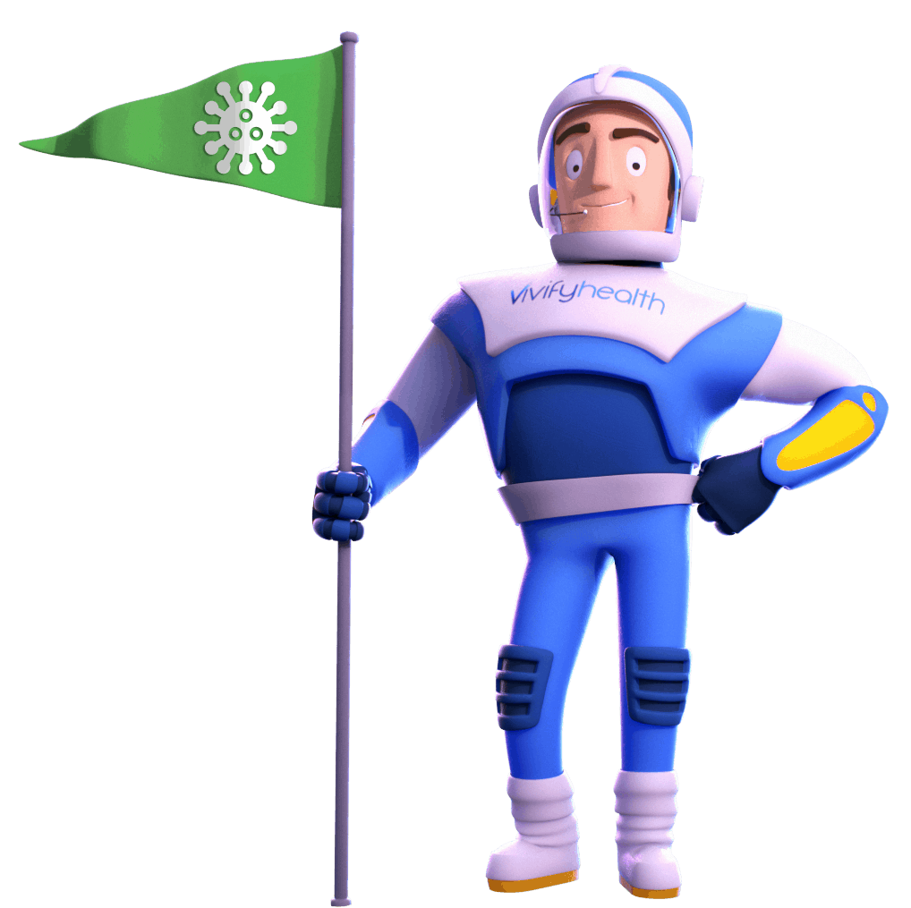 Telehealth Survey; Vivify Guy with Coronavirus Flag